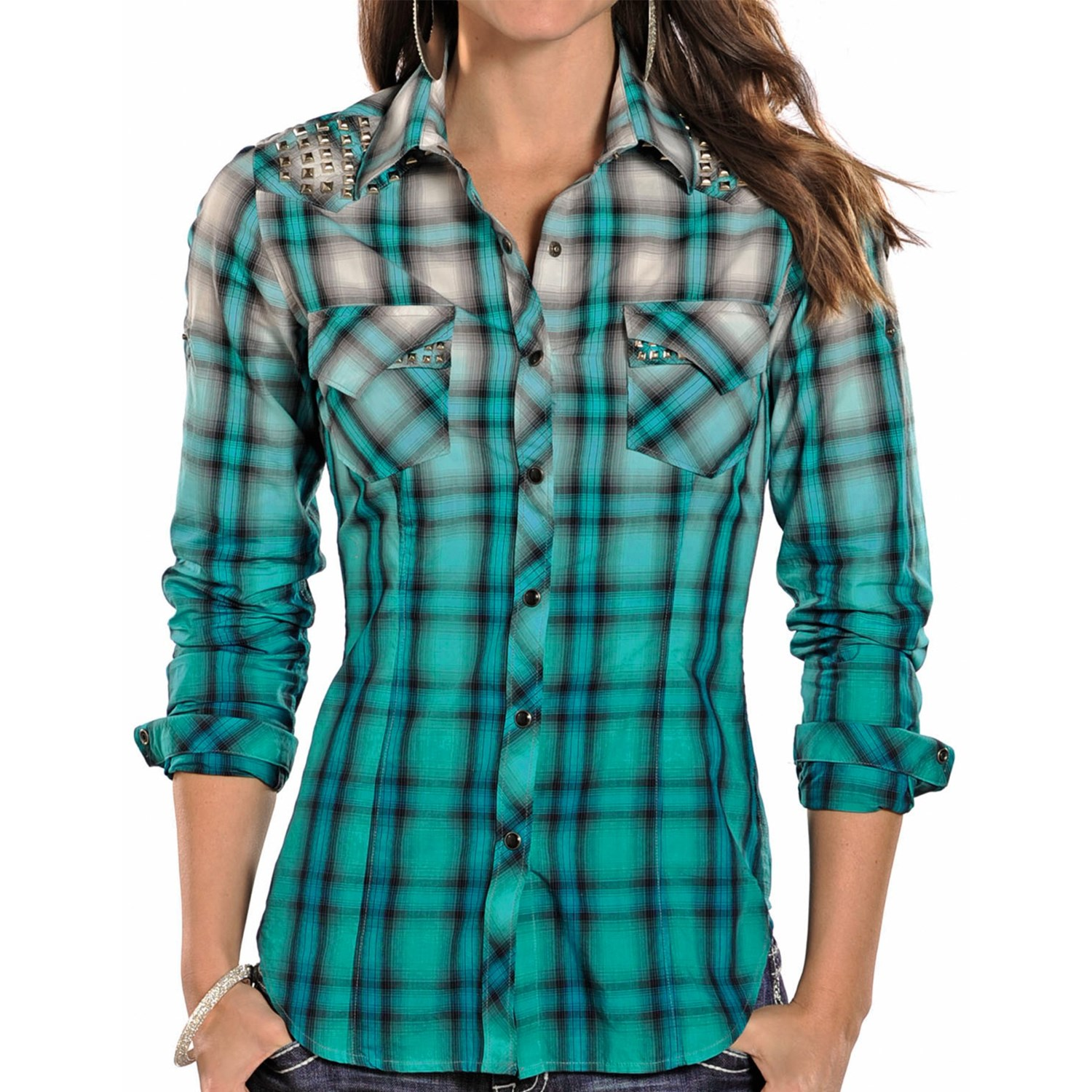 Rock Roll Cowgirl Dip Dyed Ombre Plaid Western Shirt