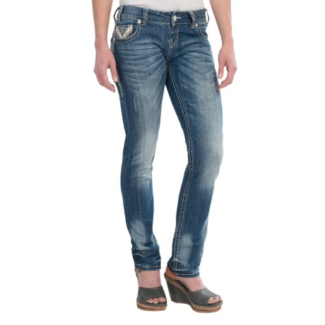 Rock & Roll Cowgirl Rhinestone and Leather Skinny Jeans - Low Rise (For Women)