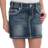 Rock & Roll Cowgirl Rhinestone Border Jean Skirt - Low Rise (For Women)