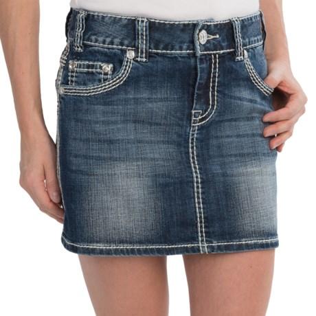 Rock & Roll Cowgirl Rhinestone Border Jean Skirt - Low Rise (For Women)