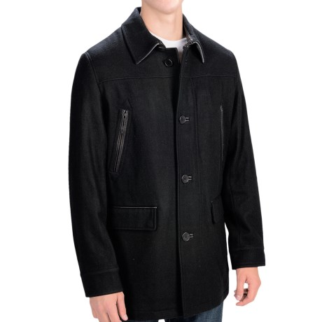 Cole Haan Melton Wool Coat - Leather Trim (For Men)