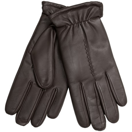 Leather Gloves with Gathered Cuffs - Plush Lining (For Men)