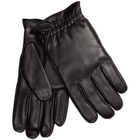 Leather Gloves with Gathered Cuffs - Fleece Lining (For Men)