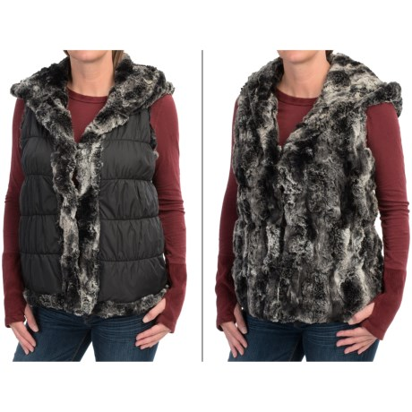 dylan Faux-Fur Reversible Vest - Attached Hood, Insulated (For Women)