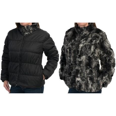 dylan Textured Black Fur and Nylon Mock Jacket - Reversible, Faux Fur (For Women)