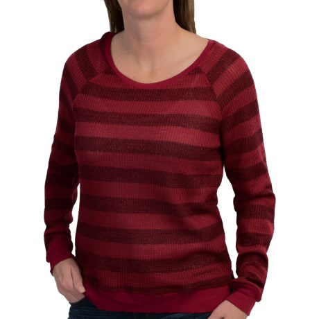 dylan Waffle-Knit Striped Shirt - Scoop Neck, Long Sleeve (For Women)
