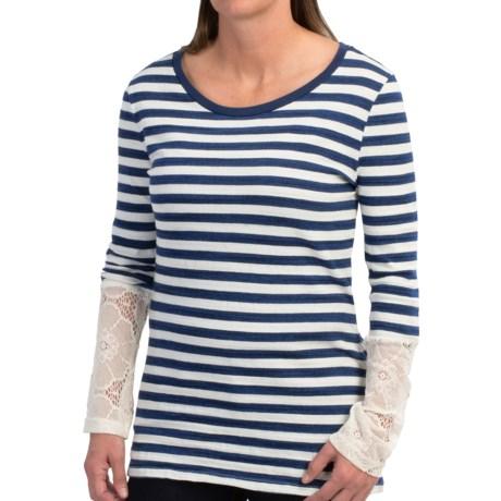 dylan Indigo Stripe Shirt - Lace Cuffs, Long Sleeve (For Women)