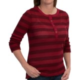 dylan Waffle-Knit Striped Henley Shirt - Long Sleeve (For Women)