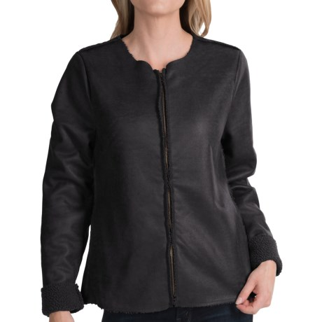 dylan Edgy Luxe Jacket - Faux Leather, Fleece Lining (For Women)