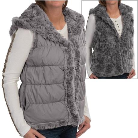 dylan Silky Puffer Hooded Faux Fur Vest - Reversible (For Women)