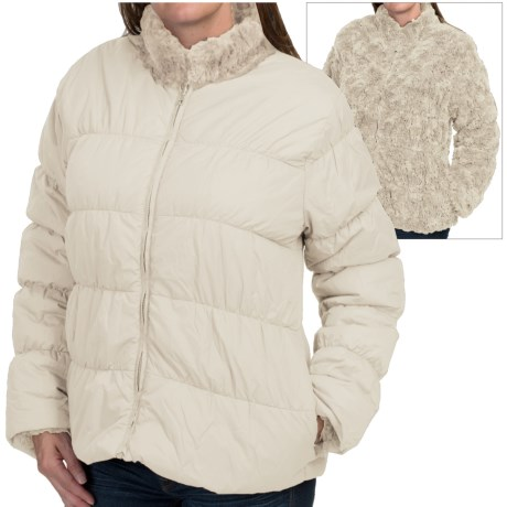 dylan Reversible Puffer Jacket - Faux Fur, Insulated (For Women)
