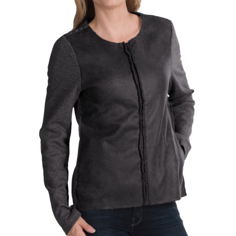 dylan Edgy Sweatshirt Jacket - Faux Leather, Fleece Lining (For Women)