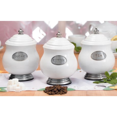 Godinger 3-Piece Canister Set - Porcelain and Pewter