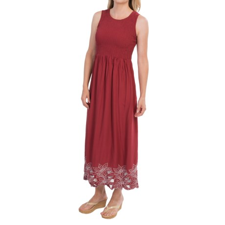 Smocked Embroidered Maxi Dress - Sleeveless (For Women)