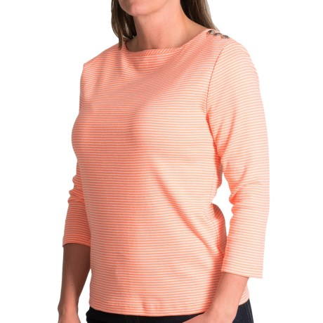 Button Detail Boat Neck Shirt - Cotton, 3/4 Sleeve (For Women)