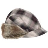 Scala Plaid Cap - Faux-Fur Trim (For Women)