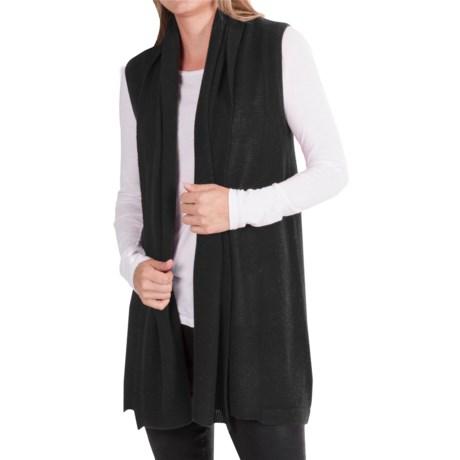 In Cashmere Vest - Open-Stitch Lapel (For Women)