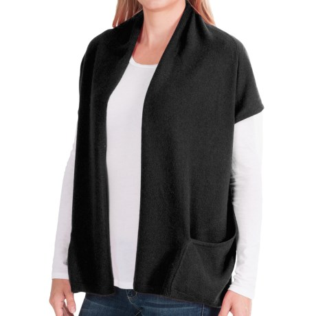 In Cashmere Double-Layered Open Vest (For Women)