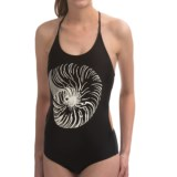 Roxy Pop Surf Optic Nature One-Piece Halter Swimsuit (For Women)
