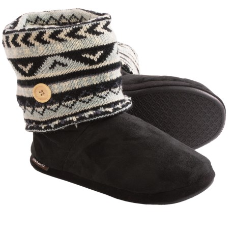 Muk Luk Legwarmer Scrunch Slipper Boots - Fleece Lining (For Women)