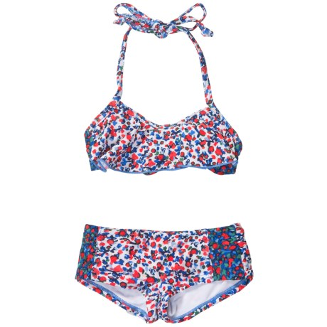 Drama Queen Printed Bikini - UPF 50+, Halter Neck, Boy Shorts (For Little and Big Girls)