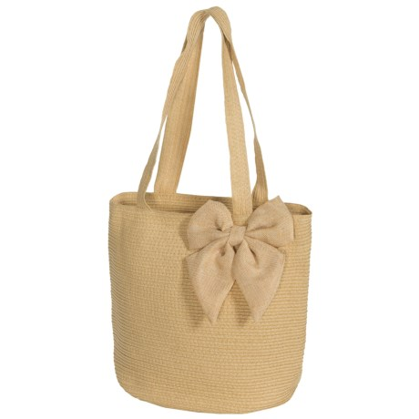 Young's Inc. Straw Bag with Burlap Bow