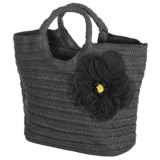 Young's Inc. Straw Bag with Flower