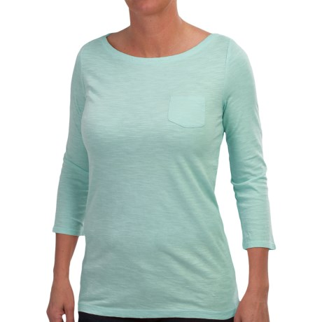Slub-Knit Shirt - Boat Neck, 3/4 Sleeve (For Women)