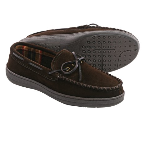 Clarks Plaid Suede Moccasins - Fleece Lined (For Men)