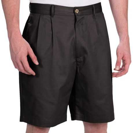 Smith & Tweed Wrinkle-Free Twill Shorts - Double-Reverse Pleats (For Men)