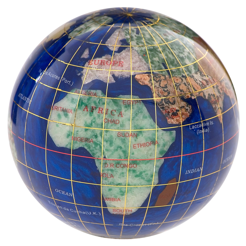 kalifano gemstone globe paperweight 3 9459y