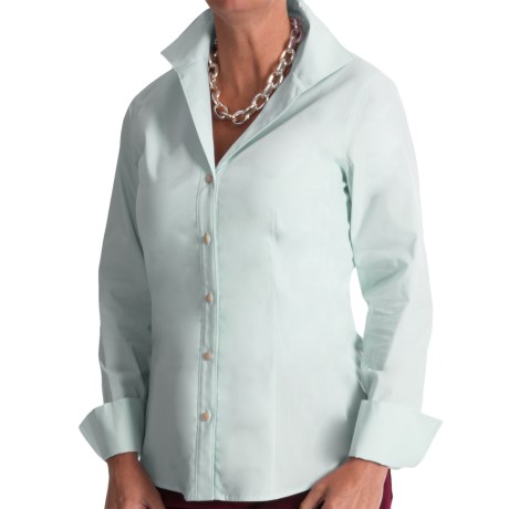 Paperwhite Cotton Wing Collar Shirt - Long Sleeve (For Women)