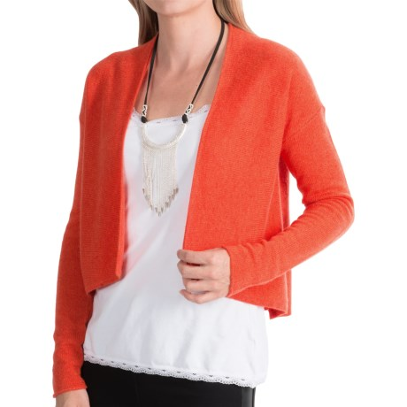 Forte Cashmere Cropped Cardigan Sweater (For Women)
