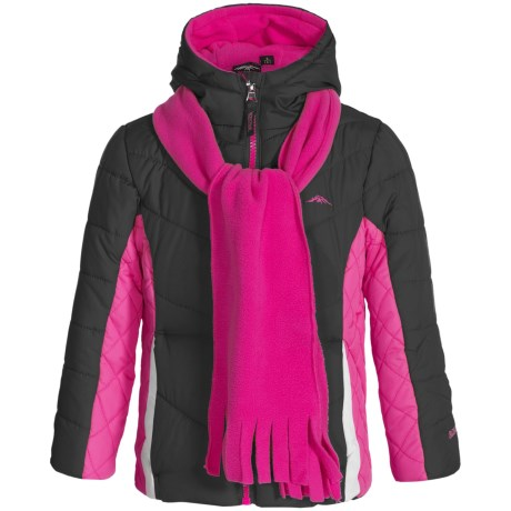 Pacific Trail Chevron-Quilted Puffer Jacket with Scarf - Fleece Lined (For Little Girls)