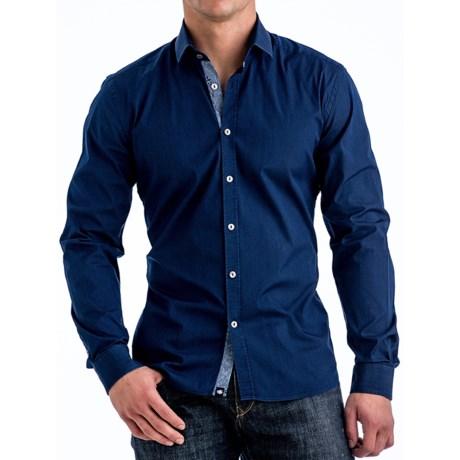 Stone Rose Stretch Denim Shirt - Contrast Trim, Long Sleeve (For Men)