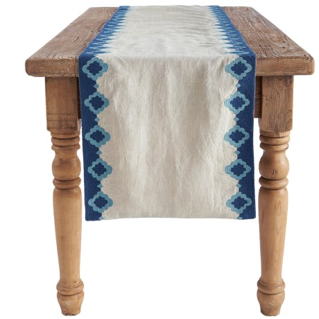 Coyuchi Bold Embroidered Linen Table Runner - 18x90""