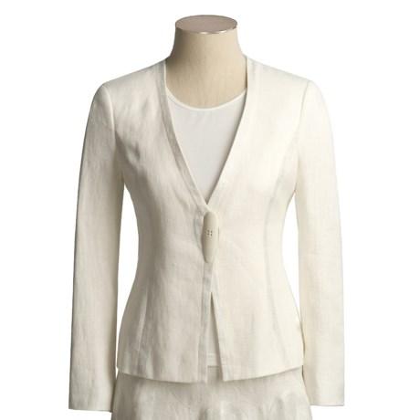 Aura Linen Jacket with Metallic Detail (For Women)