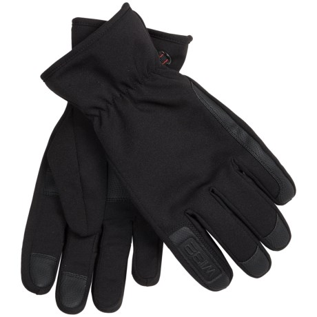 Weatherproof 32 Degrees Soft Shell Gloves - Leather Trim (For Men)