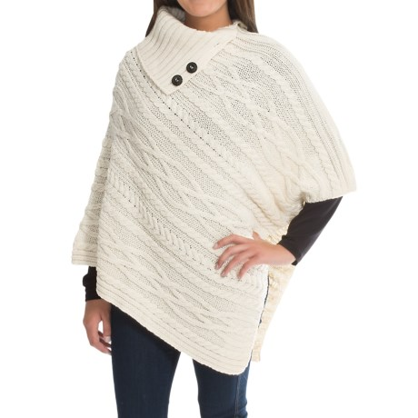 Peregrine Poncho Sweater - Peruvian Merino Wool, Button Neck (For Women)