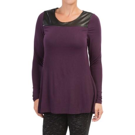 Lysse Keyhole Shirt - Faux Leather-Modal, Long Sleeve (For Women)