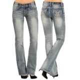 Rock & Roll Cowgirl Rhinestone Embroidered Jeans - Mid Rise, Bootcut (For Women)
