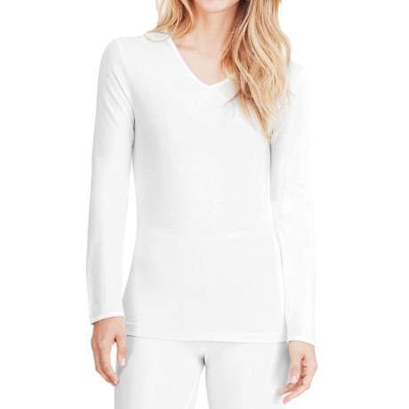 Cuddl Duds Softwear Lace Trim Top - Long Sleeve (For Women)