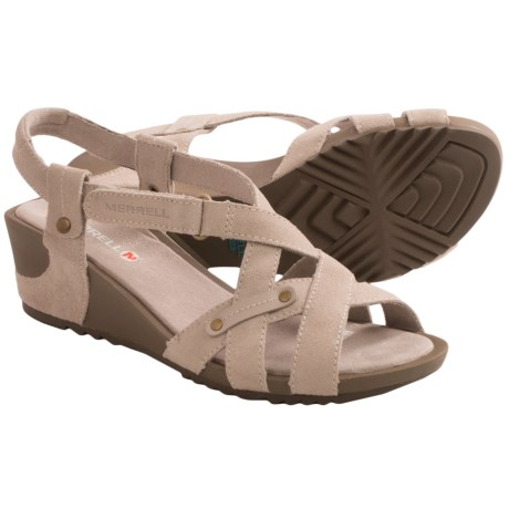 Merrell Revalli Cross Sandals - Suede, Wedge Heel (For Women)