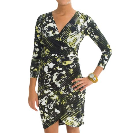 Specially made Microfiber Faux-Wrap Dress - 3/4 Sleeve (For Women)