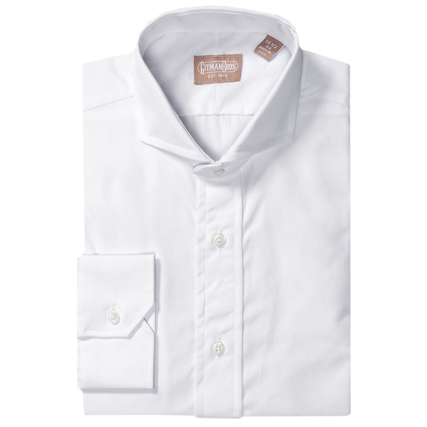 Gitman brothers cotton broadcloth dress shirt for men for Wide spread collar shirt