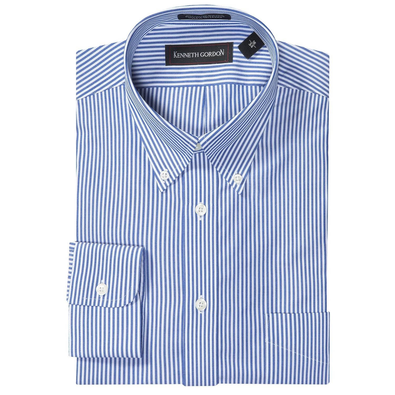 Kenneth gordon no iron stripe dress shirt for men save 61 for No iron shirts mens