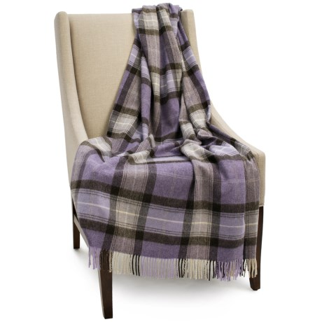 Bronte by Moon Lambswool Plaid Throw Blanket - 55x72""