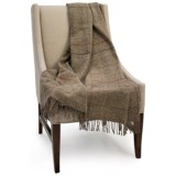 "Bronte by Moon Skye Check New Wool Throw Blanket - 55x72"""