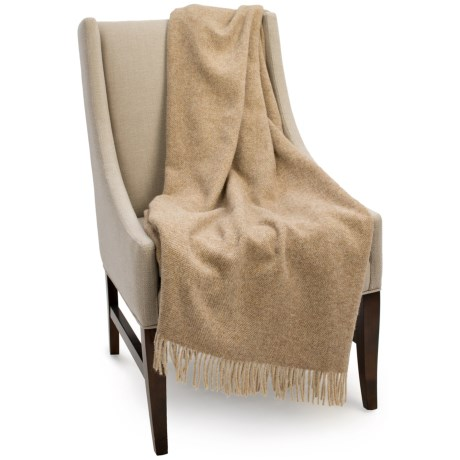 Bronte by Moon Herringbone New Shetland Wool Throw Blanket - 55x72""