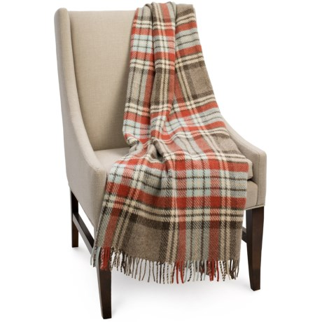 Bronte by Moon Benningborough Check New Wool Throw Blanket - 55x72""